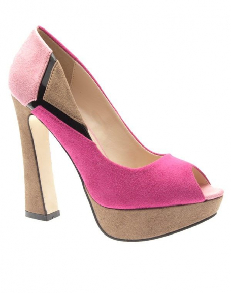 Chaussures femme Ideal: Escarpins ouvert fuchsia