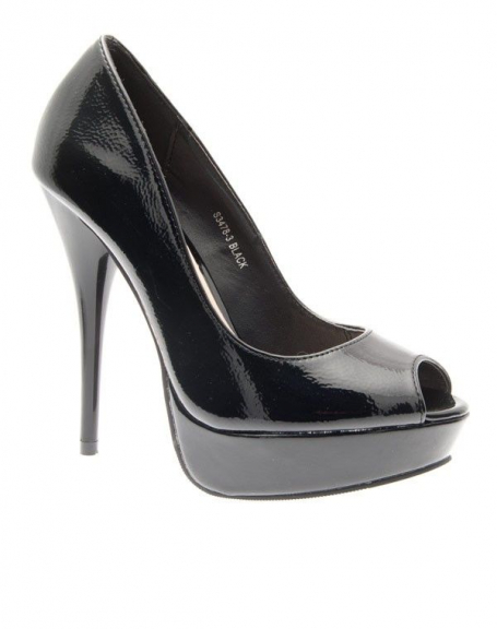 Chaussures femme Ideal: Escarpins ouverts vernis noirs