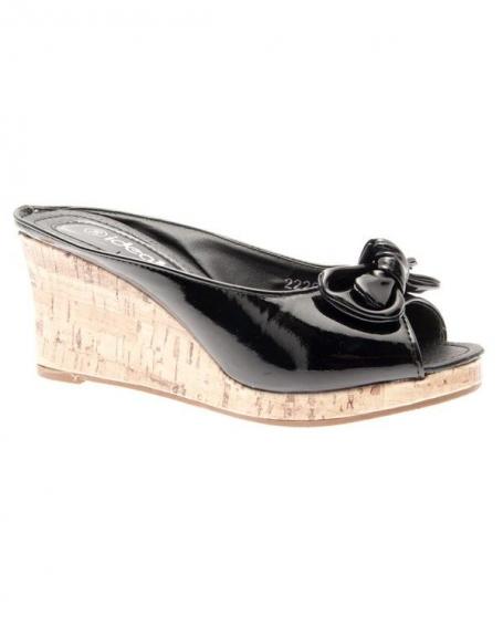 Chaussures femme Ideal: Espadrilles ouvertes vernies noires