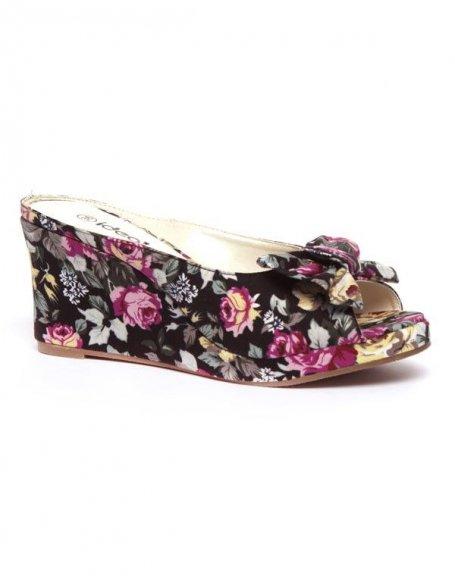 Chaussures femme Ideal: Sandale compensée motif fleuri - noir