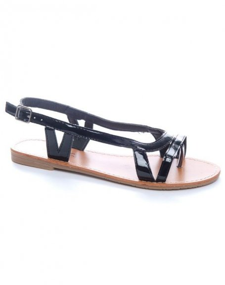 Chaussures femme Ideal: Sandales tongs vernis noires