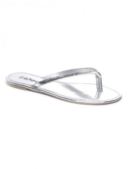 Chaussures femme Ideal: Tong argent