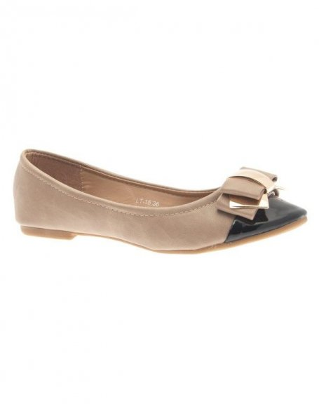 Chaussures femme Jennika: Ballerine bi couleur kaki (beige)