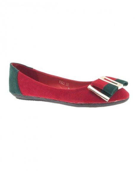 Chaussures femme Jennika: Ballerine bi couleur rouge