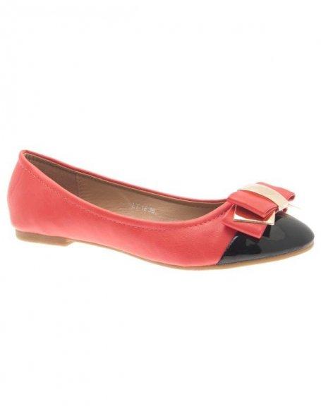 Chaussures femme Jennika: Ballerine bi couleur rouge (rose)