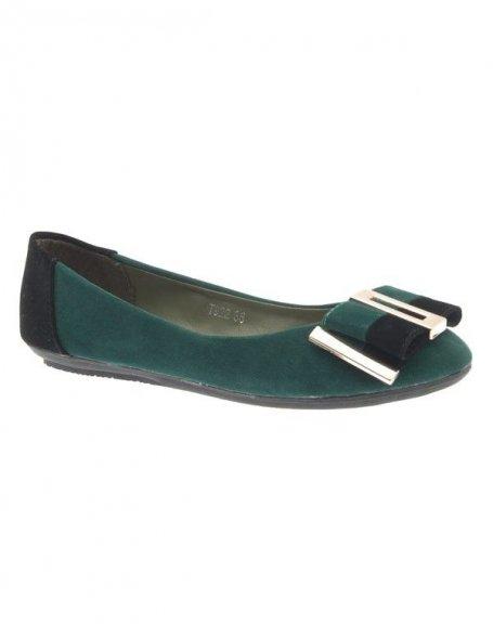 Chaussures femme Jennika: Ballerine bi couleur vert
