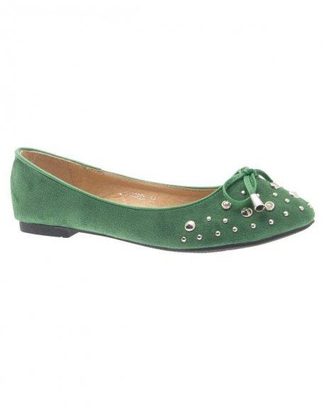 Chaussures femme Jennika: Ballerine clouté vert