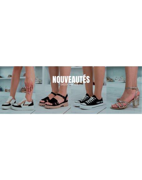 Chaussures femme Jennika: Ballerine noir vernis.