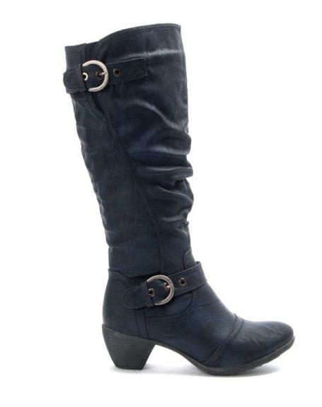 Chaussures femme Jennika: Botte à petit talon bleu