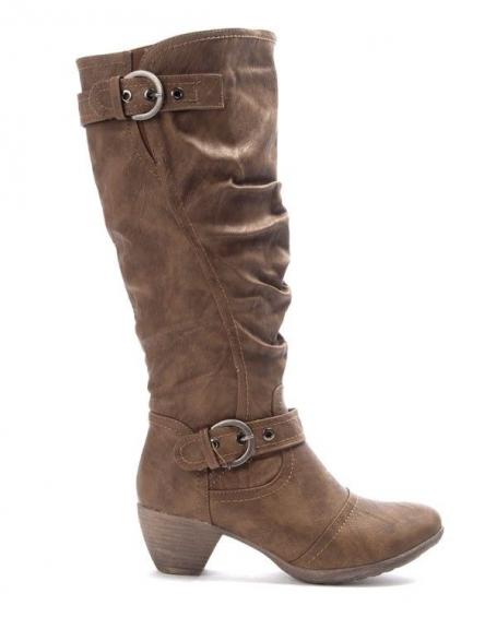 Chaussures femme Jennika: Botte à petit talon kaki