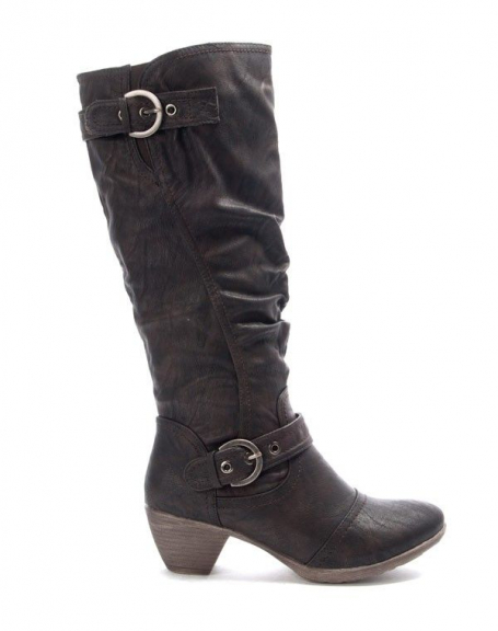 Chaussures femme Jennika: Botte à petit talon marron
