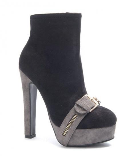 Chaussures femme Jennika: Botte bi couleur noire