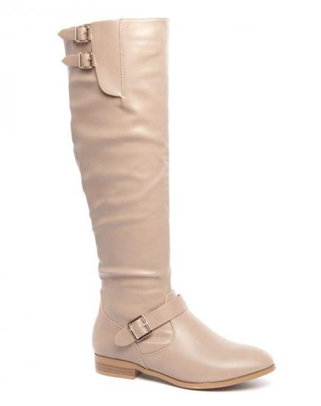 Chaussures femme Jennika: Bottes beige à talons plats