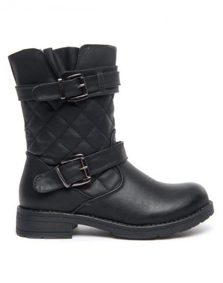 Chaussures femme Jennika: Bottes noires effet matelassé