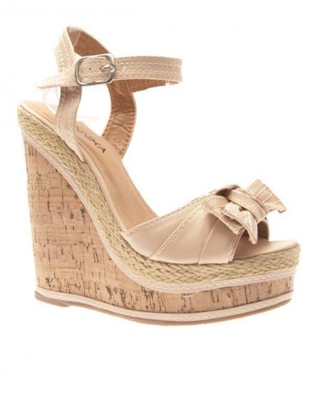 Chaussures femme Jennika: Escarpin compensé beige