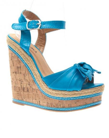 Chaussures femme Jennika: Escarpin compensé bleu