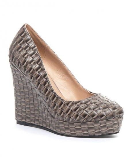 Chaussures femme Jennika: Escarpin compensé gris