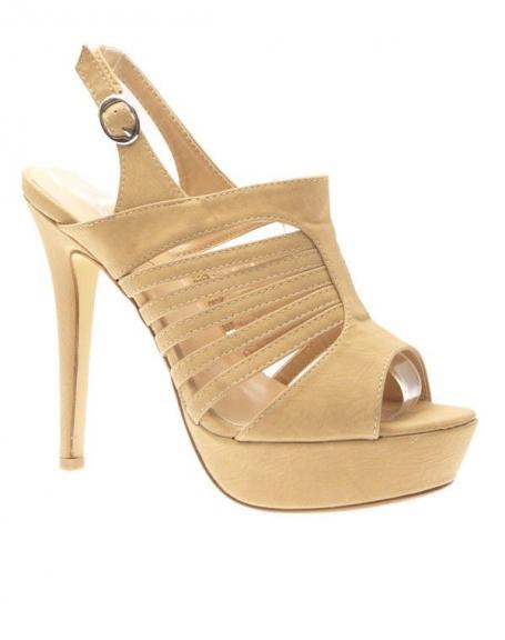 Chaussures femme Jennika: Escarpin ouvert beige