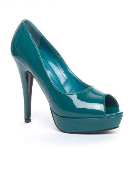 Chaussures femme Jennika: Escarpin ouvert bleu (turquoise)