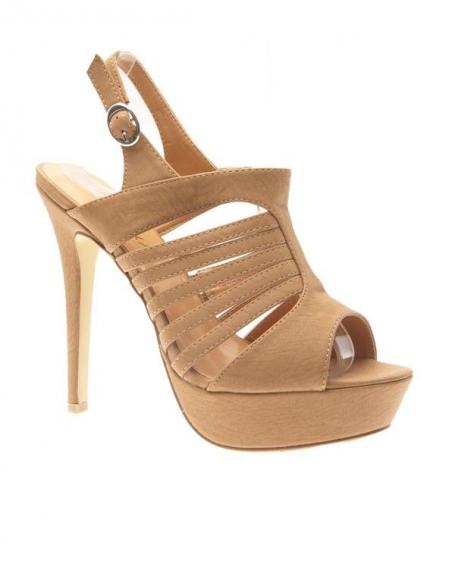 Chaussures femme Jennika: Escarpin ouvert camel