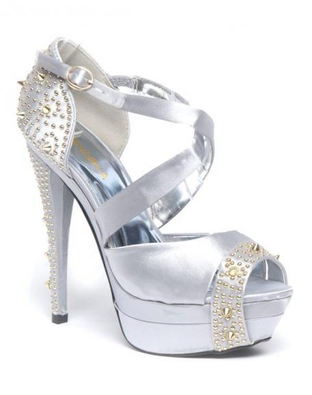 Chaussures femme Jennika: Escarpin ouvert, clouté argent