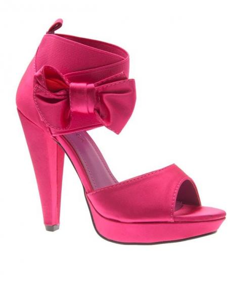 Chaussures femme Jennika: Escarpin satiné fuchsia