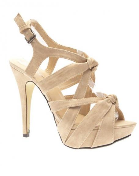Chaussures femme Jennika: Escarpins ouverts beiges