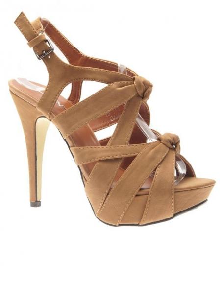 Chaussures femme Jennika: Escarpins ouverts camel