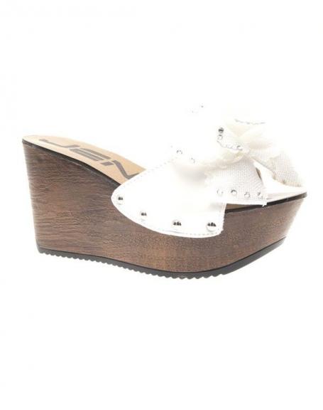 Chaussures femme Jennika: Sabots ouverts blancs