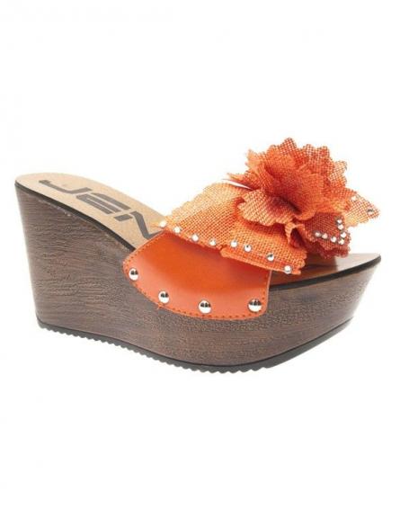 Chaussures femme Jennika: Sabots ouverts oranges