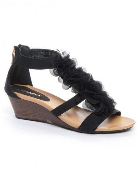Chaussures femme Jennika: Sandale fleur noir