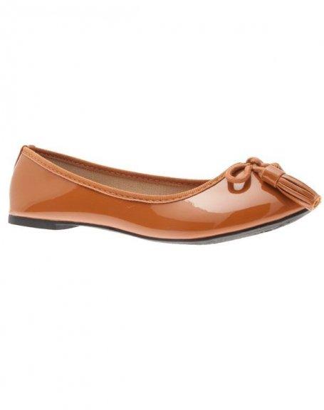 Chaussures femme L. Lux: Ballerines vernis camel