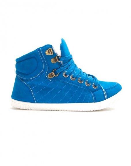 Chaussures femme Libra Pop: Basket fourrée - bleu