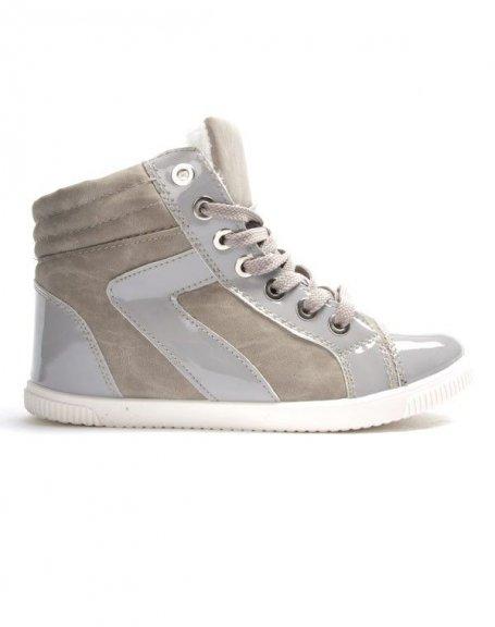 Chaussures femme Libra Pop: Basket fourrée - gris