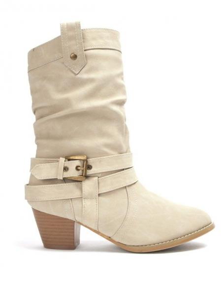 Chaussures femme Libra Pop: Botte à petit talon - beige