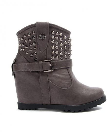 Chaussures femme Libra Pop: Bottine compensé - gris