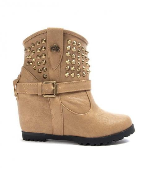 Chaussures femme Libra Pop: Bottine compensé - kaki