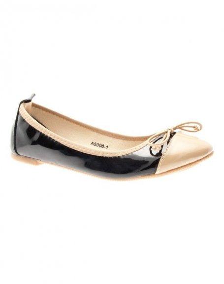 Chaussures femme LiKe Style: Ballerines vernies noir/camel