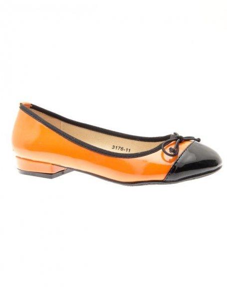 Chaussures femme Like Style: Ballerines vernies oranges