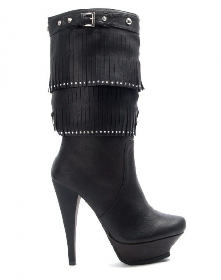 Chaussures femme Like You: Botte à frange - noir