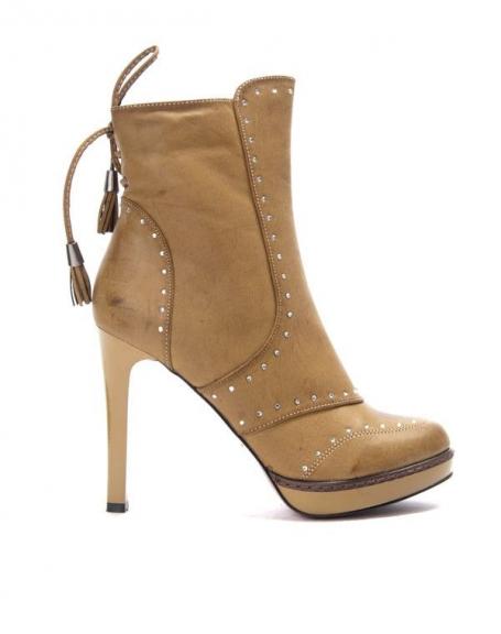 Chaussures femme Like You: Botte à talon et strass camel vintage