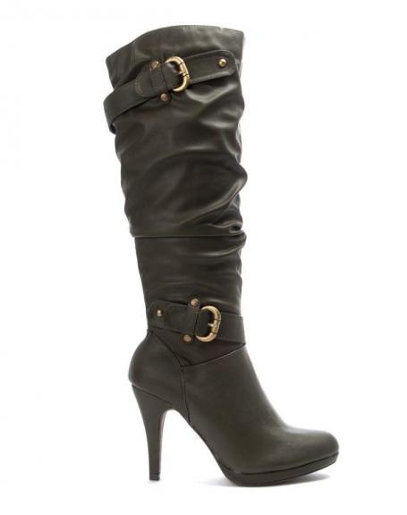 Chaussures femme Like You: Botte boucle fermée kaki