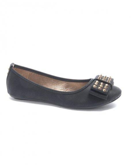 Chaussures femme Metalika: Ballerine clouté noire