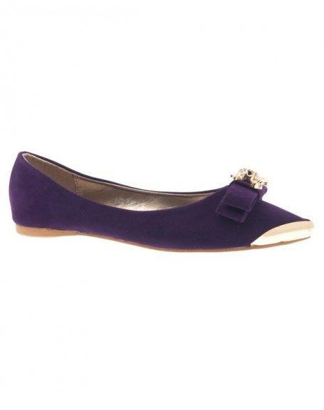 Chaussures femme Metalika: Ballerine pointu tête de mort violet