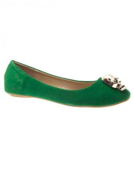 Chaussures femme Metalika: Ballerine tête de mort vert