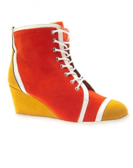 Chaussures femme Metalika: Baskets à talons compensés orange