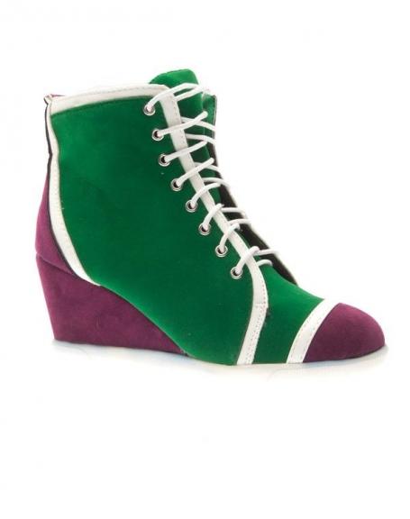 Chaussures femme Metalika: Baskets à talons compensés vert