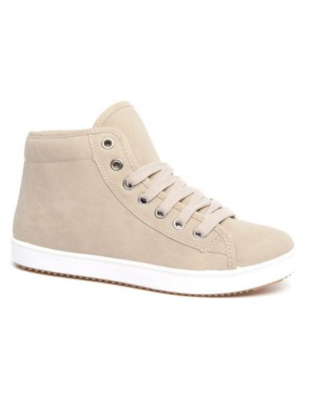 Chaussures femme Metalika beiges et semelles blanches