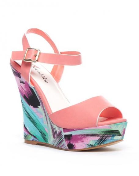 Chaussures femme Metalika: Escarpin compensé ouvert corail
