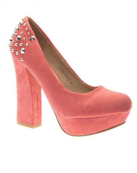 Chaussures femme Metalika: Escarpins femme clouté orange